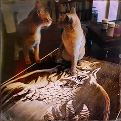 Cat Standoff on Moon Monster Poster Reproduction