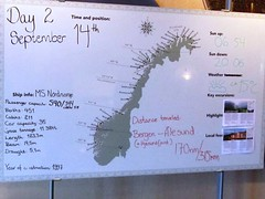 Norway - day 2.  The chart on the 4th deck, shows the information for each day, used in conjunction with a daily itinerary sheet and provided guide book. (Anne David 2012) Tags: norway bergen hurtigruten autumngold hurtigrutencruise