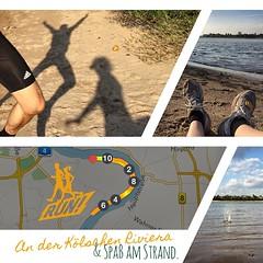 Wir waren vorhin bei #Sonnenschein 'ne Runde an der Kölschen Riviera #joggen. Bis zum Ort Weiss. Anschließend haben wir ein bissel #Quatsch am Strand gemacht. | We #jogged at the #Rhein to the town Weiss. After it, we did some #fun at the #beach.  Bericht