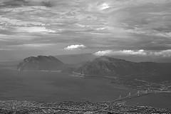 B&W magic (GEORGE TSIMTSIMIS) Tags: bw clouds sea city mountains hight patras rionantirrion bridge pentaxk1 ricohimaging outdoors sky land fullframe light shadows monochrome blackandwhitephoto