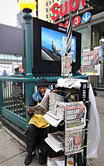 Read All About It (Robert S. Photography) Tags: newsstand newspapers man reading subway streetlamp ads fog street 34th manhattan nyc sony dscwx150 iso160 march 2017