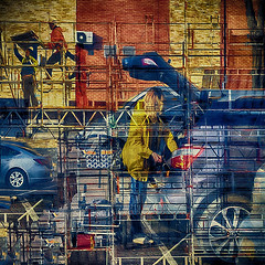 Urbanization. I (Nellie Vin) Tags: urbanization transportation crowded people construction abstract color photography fineart print nellievin cities woman men