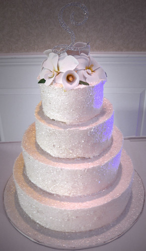 Buttercream Edible Glitter Wedding Cake with sugar flowers