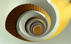 Spiral stairs (Croix-roussien) Tags: urban france color yellow stairs jaune spiral graphic lyon perspective step couleur escaliers graphique
