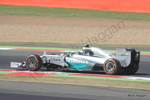Nico Rosberg in his Mercedes during Free Practice 1 at the 2014 British Grand Prix