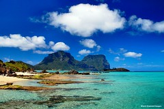 View to Mt Lidgbird & Mt Gower Over Lagoon from Lord Howe Island Wharf, NSW (Black Diamond Images) Tags: coral clouds island rocks paradise australia lagoon wharf nsw foreshore lordhoweisland worldheritagearea mtgower wharfprecinct mtlidgbird thelastparadise blackburnisland lordhoweislandwharf