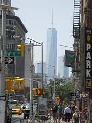 Freedom Tower Hazy Day on 17th Street NYC 2568 (Brechtbug) Tags: world street new york 2001 city nyc reflection tower art monument public fountain freedom memorial downtown day looking manhattan south 911 ground center 11 september wtc lower fountains hazy avenue trade zero fdny 17th 6th 2014 07022014