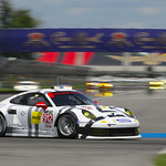 No_ 912 Porsche 911 RSR taking a corner in the IMS infield