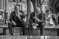 Business Lunch [explored] (BazMat:photog) Tags: leica bw men eating candid bald streetphoto baldmen pastie eatinglunch whitestreet suited twomen twobaldmen explored leicac suitsmen suittwo businesssuitbusiness eatingsitting togethermen seatedsittingblack