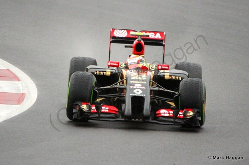 Pastor Maldonado in his Lotus during Free Practice 3 at the 2014 British Grand Prix