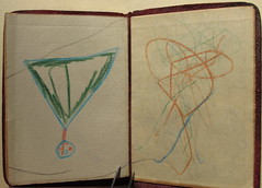 Sketch by Mary in back cover of Friendship.. (spelio) Tags: old leather small fine books covers copy g12 asset