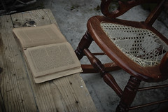 Pasado el tiempo (Uriel Akira) Tags: wood old brown paper table mexico book cafe madera chair decay libro silla rocker papel veracruz viejo mesa mecedora coatza coatzacoalcos