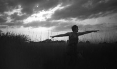 Sky Warror (Trojan_Llama) Tags: sunset sky bw woman white black film yoga diy warrior silhoette 400s homedeveloped agfagevaert
