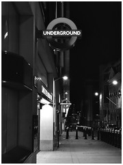 (mikeatkinson751) Tags: blackandwhite bw london night underground lights evening noir tube londonunderground monumentstation tubeline