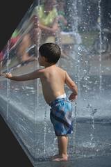 Reaching Around The Corner (swong95765) Tags: park boy wet water fountain kid reaching reach