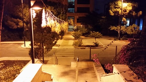Technion at Night - The stairs to Yitzhak Rabin building of the Civil and Environmental Engineering Faculty (Haifa, Israel)