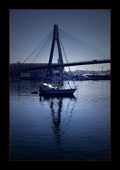 Captain On The Bridge (Seeing Things My Way...) Tags: bridge blue reflection water boat yacht glebe sydneyharbour glebeislandbridge anzacbridge blackwattlebay