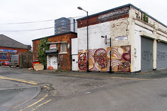 P9033636-1 (Lawrence Holmes.) Tags: wallart streetart ancoats manchester uk misterbouncer shaunburner lawrenceholmes olympusc7070
