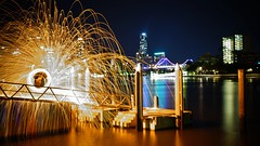 waterfire3 (isaacbetteridge) Tags: city longexposure red urban white black color colour water skyline night fire photography photo cool interesting view brisbane colourful pylons picturesque lightrefelction toowoombanight