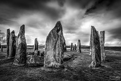 Callanish Stone Circle (Descended from Ding the Devil) Tags: blackandwhite monochrome scotland standingstones wideangle callanish hdr isleoflewis hebrides stonecircle sigma1020 tonemapped singleraw contrastoptimizer topazclarity