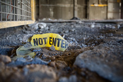 Do Not Enter (QuikSink) Tags: old blue red hot abandoned yellow metal rust warm industrial exploring australia age lonely exploration southaustralia abandonment dilapidated urbanexploring urbex 2014
