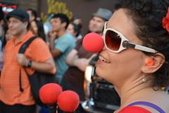 New York Clown Theatre Festival 2014 - Kick off Parade & Pie Throwing Contest (engagejoe) Tags: new york nyc red pie nose clown parade throwing fesitval