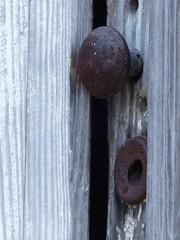 Open in Front (FagerstromFotos) Tags: door old texture closeup hardware rust gray rusty doorknob weatheredwood