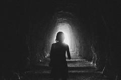La oscuridad al final del exterior (_Gure_) Tags: blackandwhite bw blancoynegro girl espaldas back loneliness grain tunnel soledad tunel navarre navarra 2014 ruido nafarroa lumbier fozlumbier