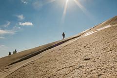 Dad returns from his run up the rock (GlobalGoebel) Tags: california usa sun rock america canon nationalpark powershot yosemite pointandshoot rays yosemitenationalpark s90