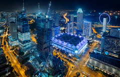 Raising South Beach (draken413o) Tags: travel sky panorama beach skyline night digital photography high construction singapore asia view skyscrapers south cityscapes places aerial equinox blending swissotel destinations