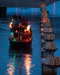 Fire Dancer performs on the river (Photograph by Drew Christhilf) (waterfireprov) Tags: accessboat christinemaino fez wallbraziers woodboat
