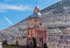 Bells (Juannkimo) Tags: tower clock pink bells sky mountain statue cross cupule architecture architectural arquitectura arch blue clouds travel trip jour journey tourist town tourism tour sunny sunlight sun beautiful beauty cute church parish cathedral outdoors religion religious temple