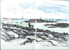 Larmor-Plage (un pinceau à l'ouest) Tags: ink aquarelle seascape bretagne mer sea rocher pleinair