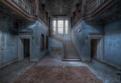 A  Dark and Shady past (Kriegaffe 9) Tags: school abandoned stairs carpet decay hallway manor kriegaffe9