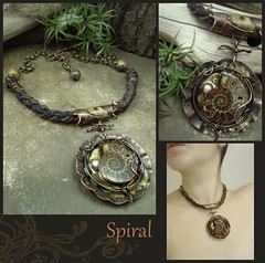 Spiral - Mixed Media Necklace COLLAGE (Luthien Thye) Tags: nature spiral necklace mixedmedia shell jewelry ammonite artjewelry luthienthye alteredalchemy