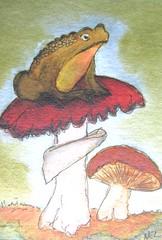 Toadstool ATC (dobie256) Tags: nature mushroom watercolor frog toad toadstool 2014 swapbot