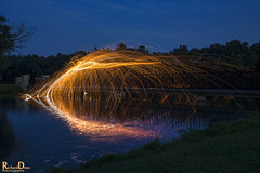 June Steel / Wire Wool Spinning (RickDrew) Tags: bridge light sky hot reflection wool water canon painting evening wire bright steel calm burning spinning heat sparks sparky afterdark 5dmkiii