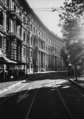 (Alessio Conti) Tags: street city sunset white black milan film dusk milano delta olympus xa2 400 analogue ilford
