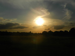 evening landscape (nathanhogben) Tags: park trees sky sun field grass landscape evening late