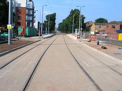 New tram tracks along Queens Walk in the Meadows, Nottingham (ayeupmeduck) Tags: nottingham 2 net construction walk tracks meadows tram queens stop transit express phase development the