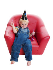 All Partied Out (Brenda Carson_songbird839) Tags: birthday boy red party people baby hat fun kid chair toddler child candy jean sticky blueeyes whitebackground blond tired overalls barefeet lollipop isolated whistle happysmile slouch dirtyface