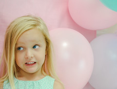 5!!! (Mommy with a Nikon) Tags: birthday pink blue green love girl colorful sweet 5 girly pastel blueeyes ballon precious kindergarten birthdaygirl