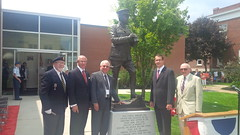 Monte with MP Bev Shipley, Brian Angyal, and Prof. A.M.J. Hyatt at the unveiling of a statute of General Sir Arthur Currie in Strathroy