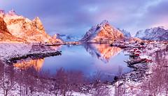 Earth Smiled II | Reine, Lofoten, Norway (v on life) Tags: morning light snow mountains norway clouds sunrise reflections dawn village bluehour peaks lofoten reine fishingvillage rorbuer olstind