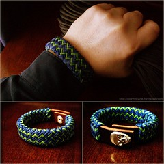 A gift from a friend... (Stormdrane) Tags: blue green leather thanks skull design diy pattern phil decorative craft knot snap hobby gift bracelet checkered variation gaucho iloveit paracord turkshead l