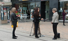 Now the Interview  TV (Jocey K) Tags: street city newzealand christchurch people signs buildings sheep shops cbd tramlines highst archtiecture intervew highstreettransitionalproject launchofthehighstreettransitionalproject trafficsheep