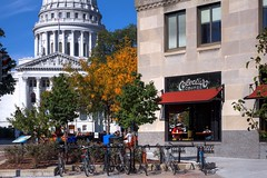 The Capitol Dome and Colectivo Tenny (johndecember) Tags: morning usa fall coffee wisconsin cafe album sunny september madison mad hdr colectivo capitolsquare 2014 photomatixpro photoscape canoneosrebelt1i canonef40mmf28stm colectivomadisononthesquare colectivotennyplaza tennyplaza