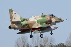 A-4N Skyhawk N262WL ex 159545 ex USN, ex IDAF BAE Systems is seen seconds from landing on RWY08 at Wittmund AB. 03/04/13 (waynebutton661) Tags: a4n skyhawk n262wl 159545 usn idaf bae systems rwy08 wittmund ab 030413 etnt