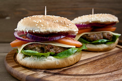Homemade burger (chrisyager) Tags: food picnic burger drink alternatives hamburger color image photography meat day out foreground barbecue focus tomato table eating no beef plate copy unhealthy summer grilled selective freshness bun take people macro white cooked grain products red homemade rustic gourmet salad spring american closeup fast russianfederation