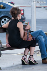 PROMENADA-11 (leremita) Tags: shoes women nylons jeans walk short sun feet soles toes dirty hair candid sprigg